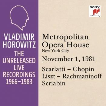 Cover Vladimir Horowitz in Recital at the Metropolitan Opera House, New York City, November 1, 1981